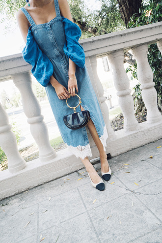 song of style blogger sunglasses top dress bag denim dress spring outfits mini bag midi dress