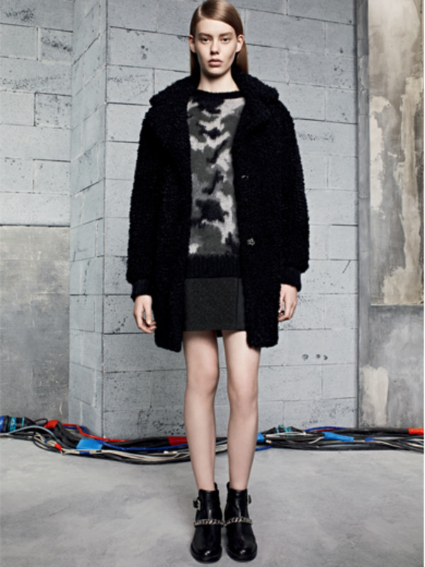 sweater sandro fashion lookbook coat skirt
