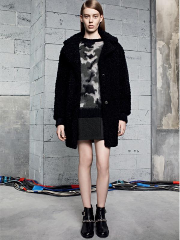 sweater sandro fashion lookbook coat skirt