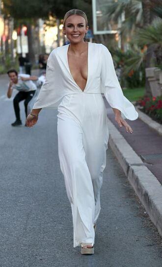 jumpsuit tallia storm cannes pants plunge v neck plunge neckline white top