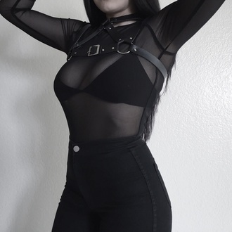 shirt goth gothic hipster black see through bra belt hot sexy