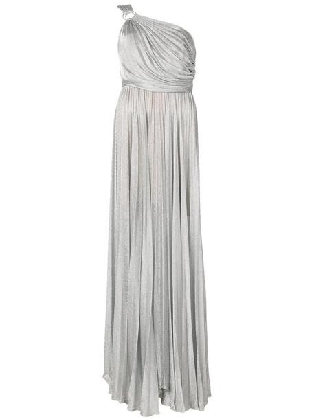 gown women spandex grey metallic dress