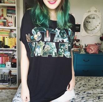 t-shirt star wars black geek