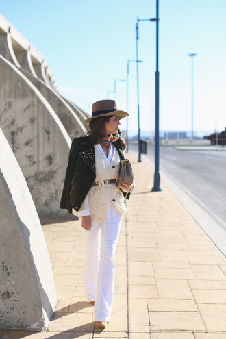 seams for a desire blogger jacket cardigan belt scarf hat jewels white jeans white top leather jacket mini bag shoulder bag nude heels