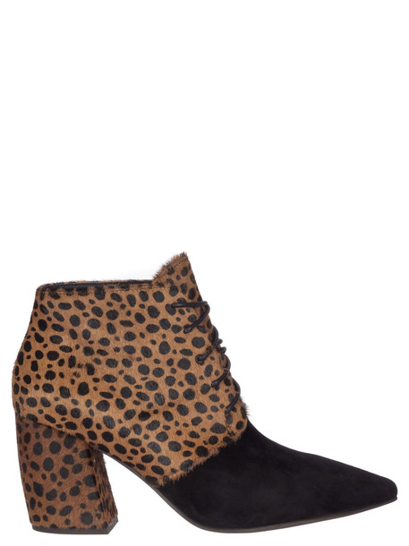 Jeffrey Campbell Suede Calf Hair Ankle Boots in black