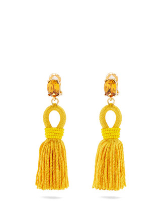 short tassel earrings yellow jewels