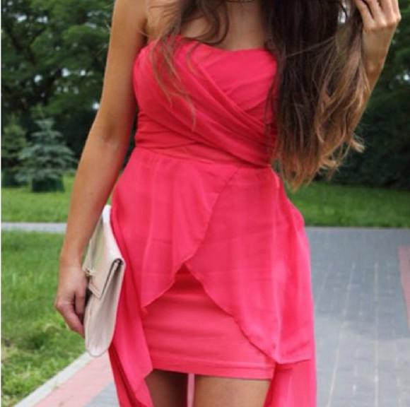 chiffon pink dress fuchsia dress