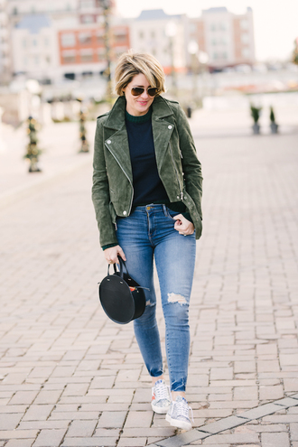 style archives - seersucker and saddles blogger jacket sweater bag jewels suede jacket green jacket winter outfits round bag sneakers