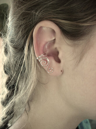 jewels earrings ear cuff non pierced sterling silver silver silver jewelry