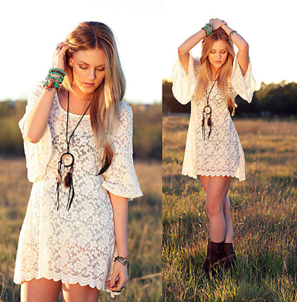 dress jewels hippie crochet white lace dress boho festival gypsy blogger style cute summer dress romantic fashion vintage brown boots shoes lace romantic summer dress