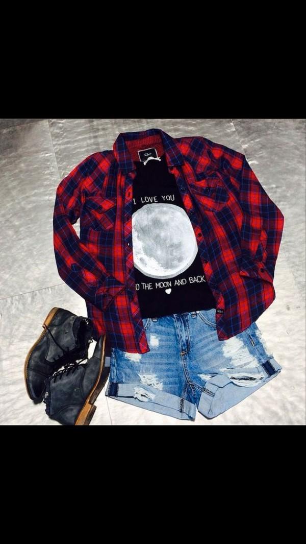 soft grunge top flannel shirt t-shirt boots combat boots hipster skirt shorts