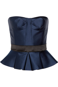 strapless satin peplum top