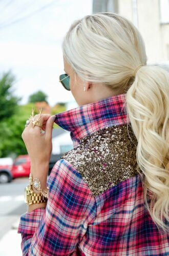 top plaid sparkle glitter blouse button up