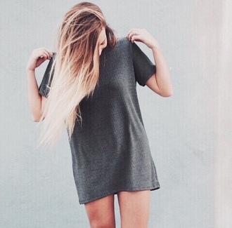 dress grey top oversized t-shirt