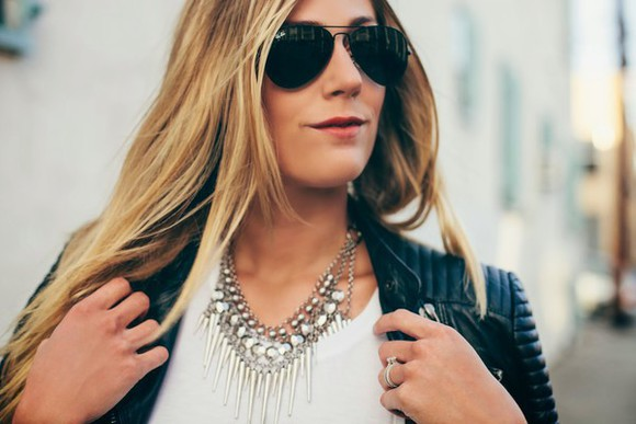 sunglasses jewels silver rayban boho festival necklace blogger devon rachel statement necklace