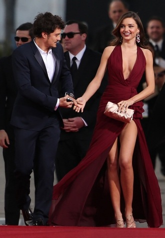 dress burgundy dress burgundy miranda kerr red carpet dress couture dress zuhair murad long dress evening dress earrings