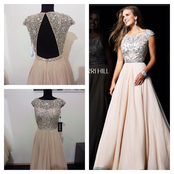 Sherri Hill 21053 Beaded Jeweled Nude Long Prom Dress [Sherri Hill ...