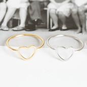 jewels,accessories,bikini luxe jewelry,dainty ring,gold heart ring,gold ring,heart jewelry,heart shaped ring,jewelry,ring,silver heart ring,silver ring,bikiniluxe