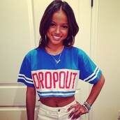 shirt,jersey,hers,blue,white,karrueche,croped,crop tops,cropped sweater,camouflage