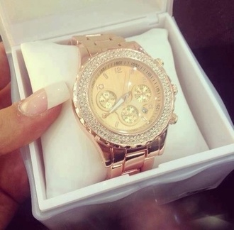jewels gold watch watch crystals diamanté glamgerous pretty fashion clock time amazing glitter