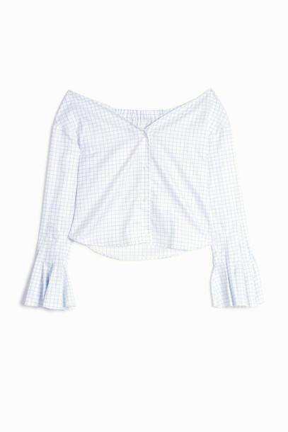 49dbb8f2d3 JACQUEMUS Stripe Off Shoulder Shirt in blue - Wheretoget