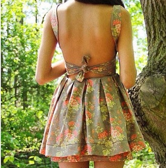 dress tie up bow floral floral dress open back tied open back dresses