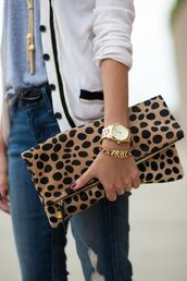 jewels,boyfriend watch,ripped jeans,grey t-shirt,fold clutch,gold boyfriend watch,white cardigan,animal print clutch,gold bracelet,zipper clutch,gold watch