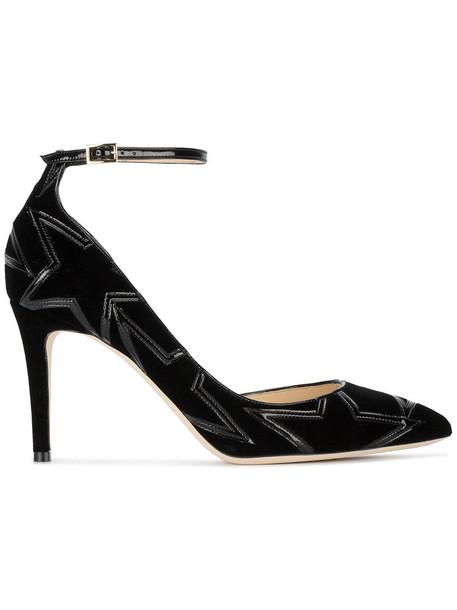 women pumps leather black velvet shoes