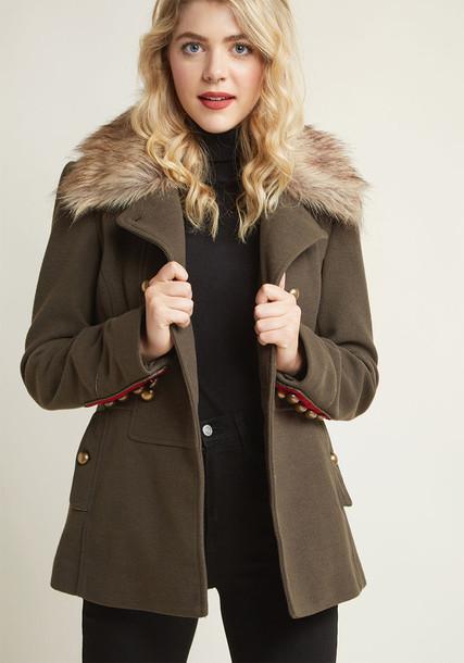 Modcloth coat green