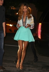 skirt,clothes,celebrity,blue skirt,rihanna,pink,jewels,green,shoes,shirt,blouse,navy,cute,fashion