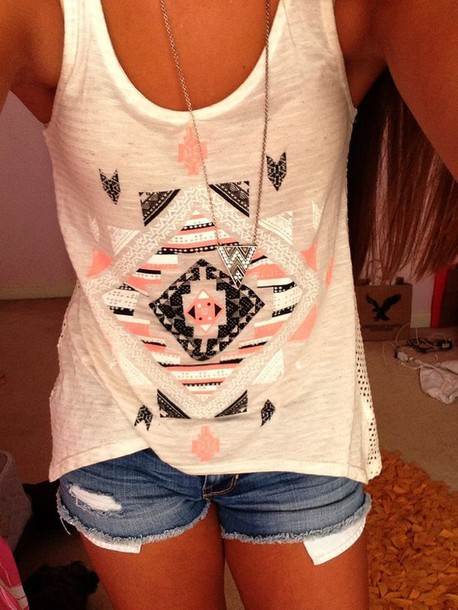 top aztec summer top tribal pattern shorts necklace