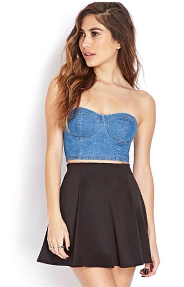 blouse bustier denim denim bustier denim crop top crop tops dress top