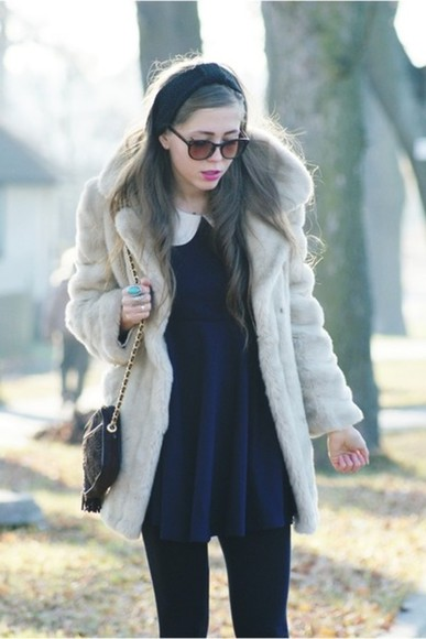 dress women woman jacket coat winter lovely beige fur fauxfur furcoat cold girly