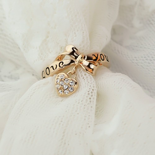 New Fashion Alloy Plated 18K Gold Bowknot Crystal Heart Women's Ring-in Rings from Jewelry on Aliexpress.com