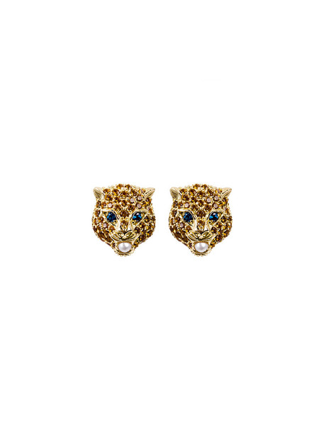 gucci women earrings gold grey metallic jewels