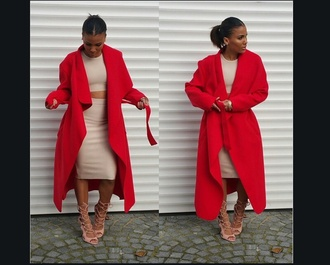 coat waterfall red trench coat trendy fashion hot cool style sexy dress nude nude dress heels on gasoline high heels ponytail felt long dress two-piece