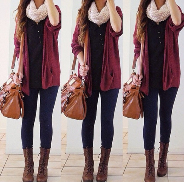 sweater burgundy sweater shoes combat boots white scarf jeans purse ring infinite scarf oversized cardigan blue shirt jacket bag cardigan weheartit brown leather bag tumblr bag cute blouse leggings scarf fall outfits hipster