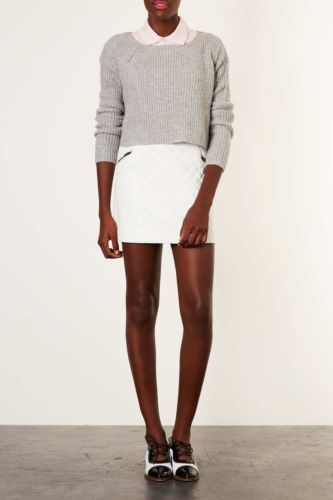 Topshop White Leather Zip Quilted Skirt A Line Size 12 | eBay