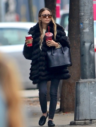 ashley olsen coat olsen sisters fur fall outfits