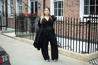 jumpsuit black jumpsuit plus size jumpsuit curvy plus size long sleeves belt jacket black jacket all black everything