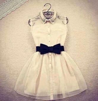 dress white short shirt beautiful swag black noeud