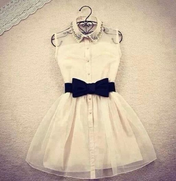 shirt dress white noeud black short beautiful swag