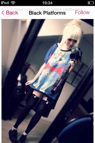 shirt colorful kpop skirt pastel goth cat shirt black platforms gothic dress amazing helpmefindthis