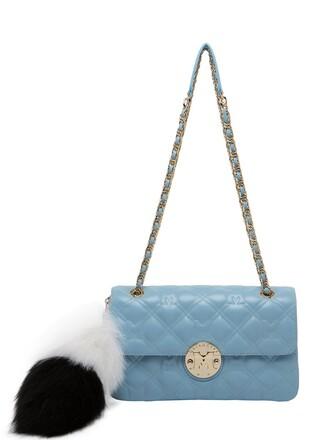 bag shoulder bag leather light blue light blue