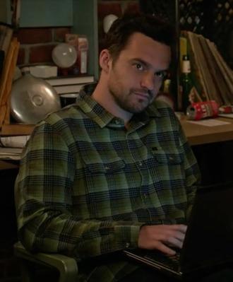 shirt new girl nick miller jake johnson green flannel shirt