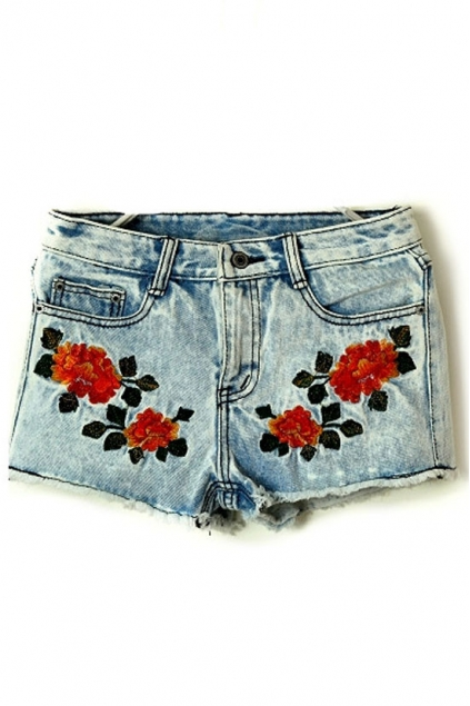 Embroidered Floral Shorts, Cheap fashion online store - FOYMALL