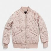 jacket,coach,pink jacket,quilted,pink,blush pink,bomber jacket,pink bomber jacket,coat