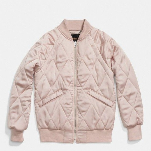 jacket coach pink jacket quilted pink blush pink bomber jacket pink bomber jacket coat