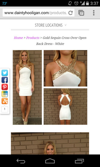 backless gold and white dress sequin dress homecoming