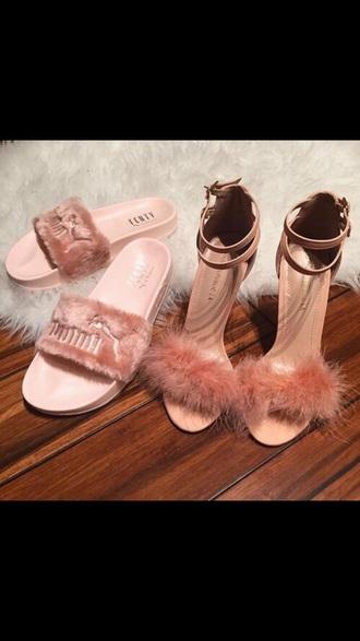 shoes heels fur furry heels sandal heels high heels high heel sandals pink rose dusty pink straps